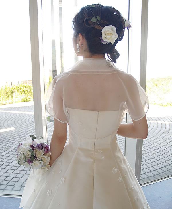 ふんわり衿のオーガンジーボレロ
