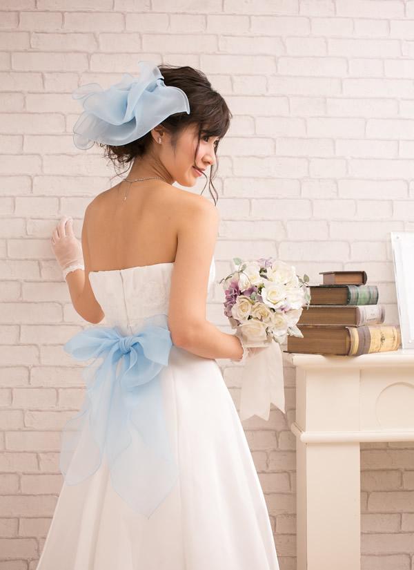 サッシュベルト&ヘッドドレス【エアリーリボン ブルー】