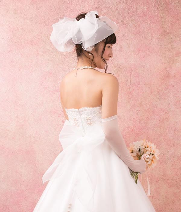サッシュベルト&ヘッドドレス【エアリーリボン オフホワイト】