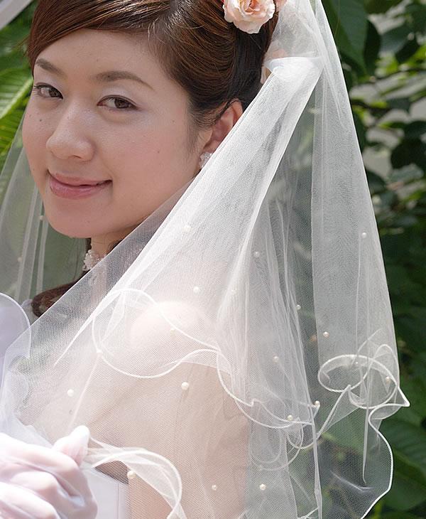ウェディングベール ショート丈【メロウ&パール】